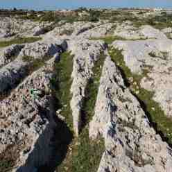 Amazing Cart Ruts geology forming equilateral triangle at Clapham Junction, Malta