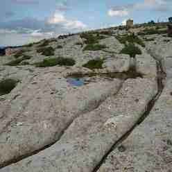 Cart Ruts curving round the bend at Naxxar Gap, Victoria Lines, on the Maltese Islands