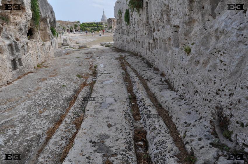 Syracuse Sicily Greek amphitheater chariot cart ruts tracks roman chariots