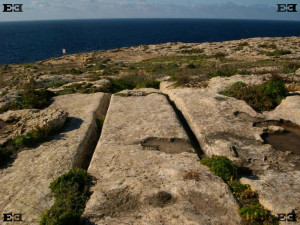 Dwejra cart ruts Gozo Malta tracks Azure Window inland sea San Lawrenz